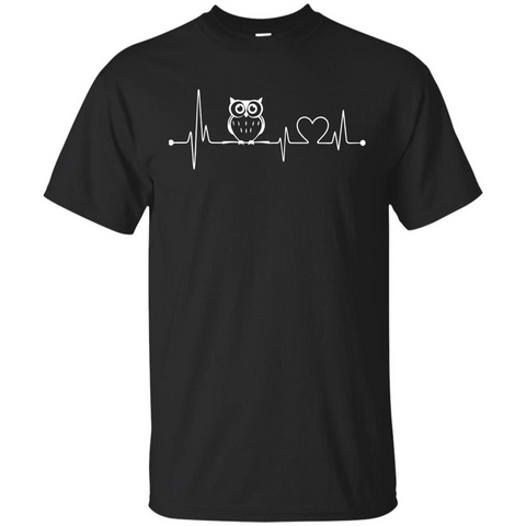 Heartbeat Owl T-shirt Love Owl T-shirt Black / S Custom Ultra Tshirt - WackyTee