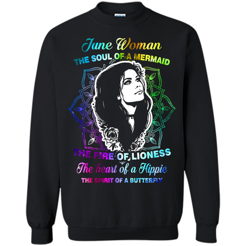 June Woman T-shirt The Heart Of A Hippie Black / S Printed Crewneck Pullover Sweatshirt 8 oz - WackyTee