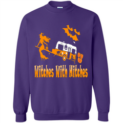 Funny Halloween T-shirt Witches With Hitches Camping Printed Crewneck Pullover Sweatshirt 8 oz - WackyTee