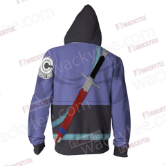 Dragon Ball Trunks Cosplay Zip Up Hoodie Jacket Fullprinted Zip Up Hoodie - WackyTee