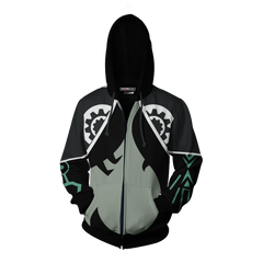 The Legend Of Zelda Midna Cosplay Zip Up Hoodie Jacket Fullprinted Zip Up Hoodie - WackyTee