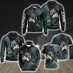 The Legend Of Zelda Link Wolf Unisex 3D Zip Up Hoodie Fullprinted Zip Up Hoodie - WackyTee