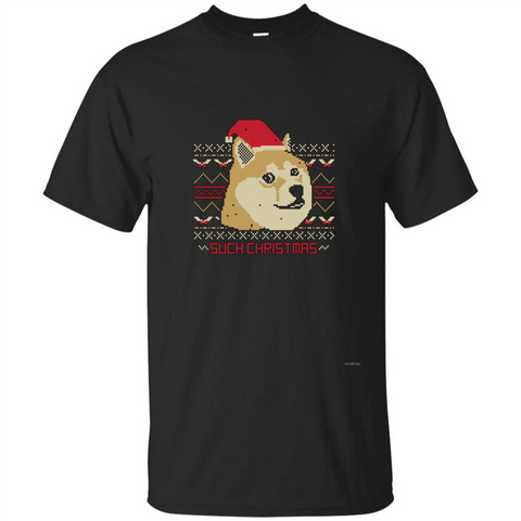 Funny Christmas Dog Lover T-shirt Such Christmas Black / S Custom Ultra Tshirt - WackyTee