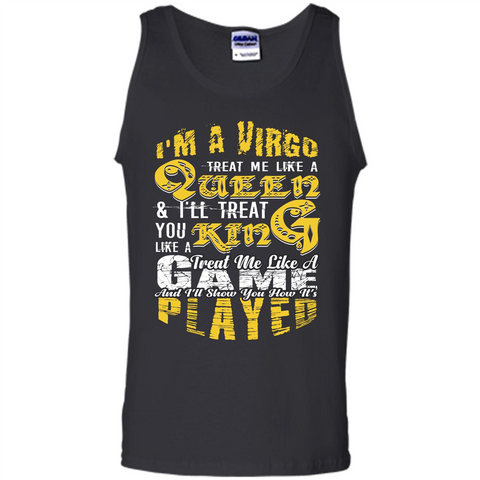 Virgo T-shirt Im A Virgo Treat Me Like A Queen Black / S Tank Top - WackyTee