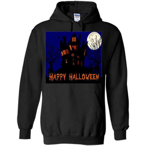 a46ddc76 Happy Halloween T-shirt Haunted House Black / S Pullover Hoodie 8 oz -  WackyTee