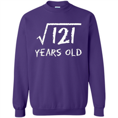 Square Root Of 121 T-shirt 11Th Birthday 11 Years Old T-Shirt Printed Crewneck Pullover Sweatshirt 8 oz - WackyTee