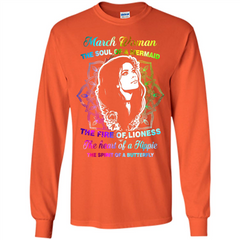 March Woman T-shirt The Heart Of A Hippie LS Ultra Cotton Tshirt - WackyTee