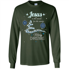 Christmas T-Shirt Jesus Is The Reason For The Season LS Ultra Cotton Tshirt - WackyTee