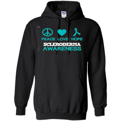 Scleroderma Awareness Ribbon Support T-shirt Peace Love Hope T-shirt Black / S Pullover Hoodie 8 oz - WackyTee