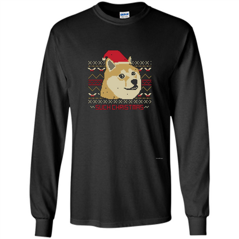 Funny Christmas Dog Lover T-shirt Such Christmas Black / S LS Ultra Cotton Tshirt - WackyTee