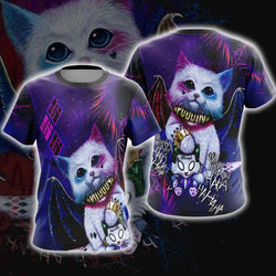 Harley Quinn Cute Cat Unisex 3D T-shirt
