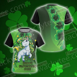 Unicorn Happy Saint Patrick's Day Unisex 3D T-shirt