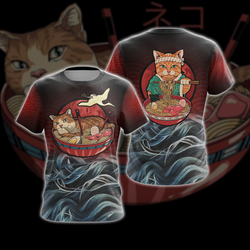 Vintage Cat and Ramen Japanese Style Unisex 3D T-shirt