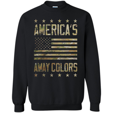 America's Away Colors T-shirt Black / Small Printed Crewneck Pullover Sweatshirt 8 oz - WackyTee