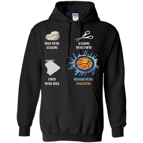 Baskettball T-shirt Nothing Beats Basketball Black / S Pullover Hoodie 8 oz - WackyTee
