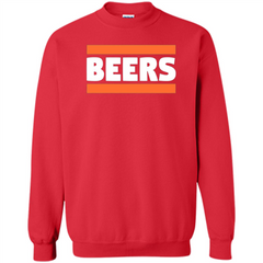 Funny Football T-shirt Chicago BEERS Blue and Orange Printed Crewneck Pullover Sweatshirt 8 oz - WackyTee