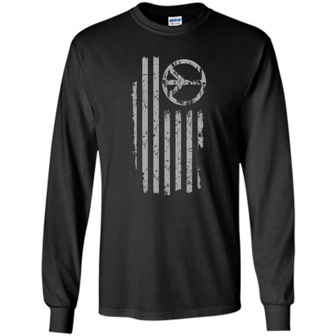 American Peace Flag T-shirt Patriotic Peace Sign Flag Shirt Black / S LS Ultra Cotton Tshirt - WackyTee