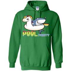Pool Party T-shirt Unicorn Float Funny Shark Pullover Hoodie 8 oz - WackyTee