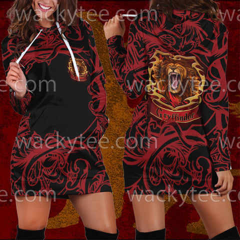 Brave Like A Gryffindor Harry Potter 3D Hoodie Dress US/EU XS (ASIAN M) Fullprinted Hoodie Dress - WackyTee