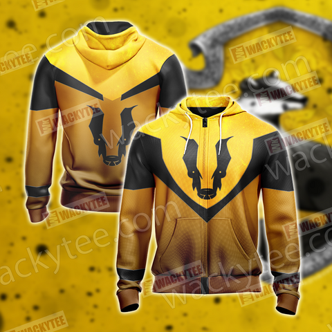 Harry Potter - Hufflepuff House Sporty Style New Unisex Zip Up Hoodie US/EU XXS (ASIAN S) Fullprinted Zip Up Hoodie - WackyTee