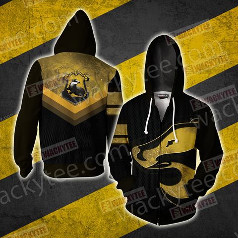 Hogwarts Castle Harry Potter - Loyal Like A Hufflepuff Wacky Style Zip Up Hoodie US/EU XXS (ASIAN S) Fullprinted Zip Up Hoodie - WackyTee