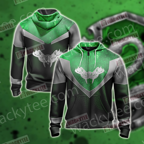 Harry Potter - Slytherin House Sporty Style New Unisex Zip Up Hoodie US/EU XXS (ASIAN S) Fullprinted Zip Up Hoodie - WackyTee