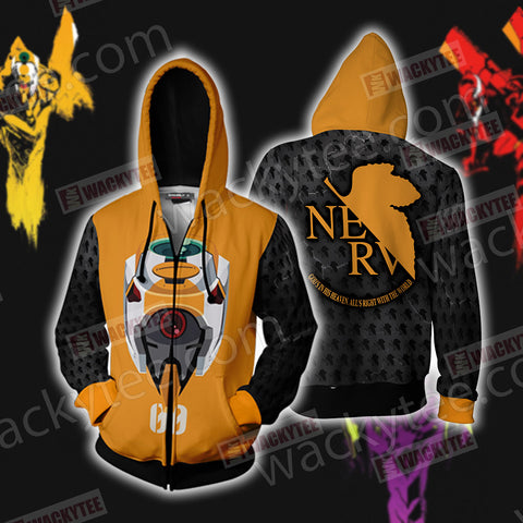 Shin Seiki Evangelion EVA 00 Zip Up Hoodie Jacket US/EU XXS (ASIAN S) Fullprinted Zip Up Hoodie - WackyTee
