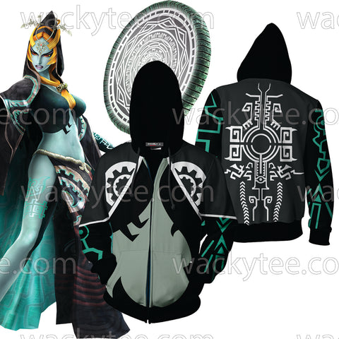 The Legend Of Zelda Midna Cosplay Zip Up Hoodie Jacket US/EU XXS (ASIAN S) Fullprinted Zip Up Hoodie - WackyTee
