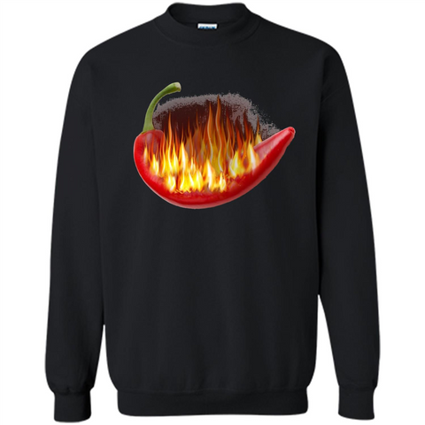 Hot Pepper On Fire T-shirt Black / S Printed Crewneck Pullover Sweatshirt 8 oz - WackyTee