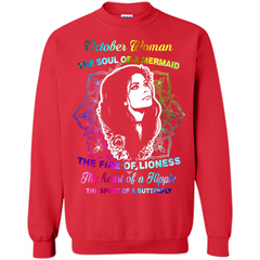 October Woman T-shirt The Heart Of A Hippie Printed Crewneck Pullover Sweatshirt 8 oz - WackyTee