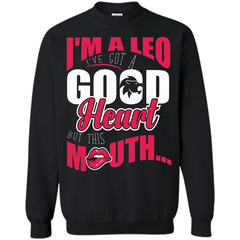 Leo T-shirt Im A Leo Ive Got A Good Heart But This Mouth Printed Crewneck Pullover Sweatshirt 8 oz - WackyTee