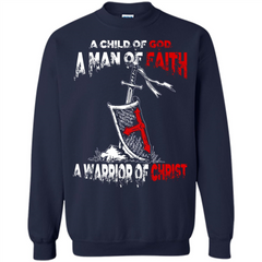 Christian T-shirt A Child Of God A Man Of Faith T-shirt Printed Crewneck Pullover Sweatshirt 8 oz - WackyTee