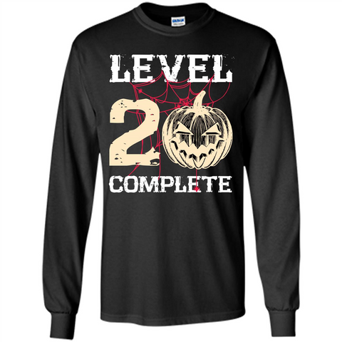 Halloween T-shirt Level 20 Complete Black / S LS Ultra Cotton Tshirt - WackyTee
