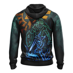 The Legend Of Zelda Link Unisex Zip Up Hoodie Fullprinted Zip Up Hoodie - WackyTee