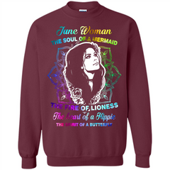 June Woman T-shirt The Heart Of A Hippie Printed Crewneck Pullover Sweatshirt 8 oz - WackyTee