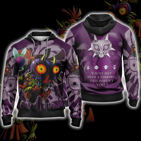 The legend of Zelda: Majora Unisex Zip Up Hoodie US/EU XXS (ASIAN S) Fullprinted Zip Up Hoodie - WackyTee