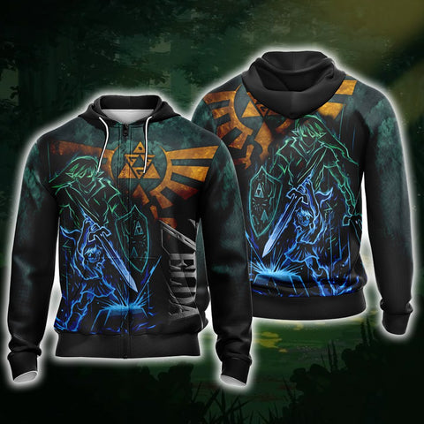The Legend Of Zelda Link Unisex Zip Up Hoodie US S Fullprinted Zip Up Hoodie - WackyTee