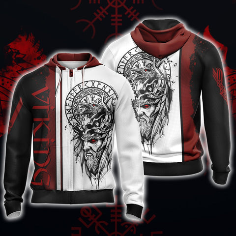 Vikings Unisex 3D Zip Up Hoodie US/EU XXS (ASIAN S) Fullprinted Zip Up Hoodie - WackyTee