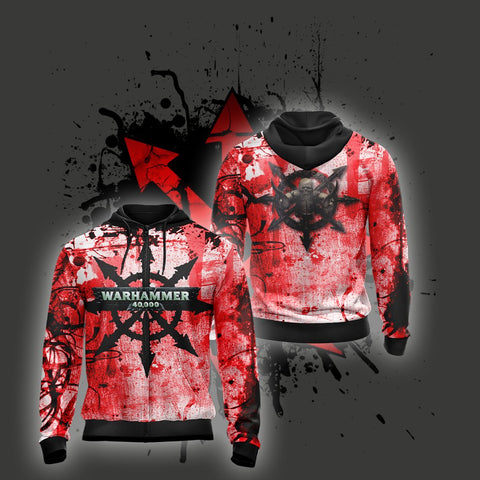 Warhammer 40,000 - Marks of Chaos Unisex Zip Up Hoodie US/EU XXS (ASIAN S) Fullprinted Zip Up Hoodie - WackyTee
