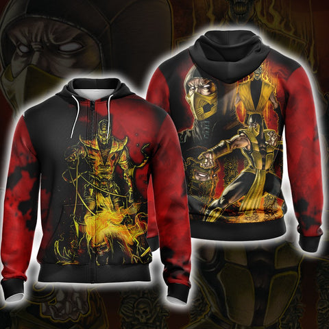 Mortal Kombat - Scorpio Unisex 3D Zip Up Hoodie US/EU XXS (ASIAN S) Fullprinted Zip Up Hoodie - WackyTee