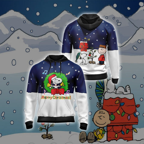 Snoopy x Christmas Unisex Zip Up Hoodie US/EU XXS (ASIAN S) Fullprinted Zip Up Hoodie - WackyTee