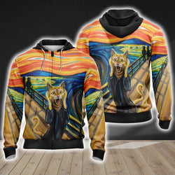 The Scream Cat Unisex 3D Zip Up Hoodie