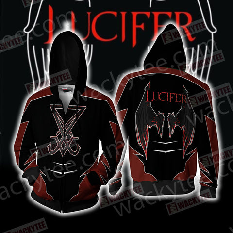 Lucifer New Unisex Zip Up Hoodie Jacket US/EU XXS (ASIAN S) Fullprinted Zip Up Hoodie - WackyTee