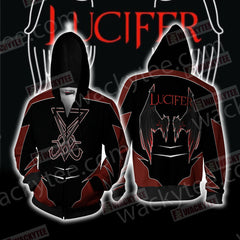 Lucifer New Unisex Zip Up Hoodie Jacket Fullprinted Zip Up Hoodie - WackyTee