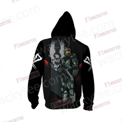 Halo - Master Chief Unisex Zip Up Hoodie Jacket Fullprinted Zip Up Hoodie - WackyTee