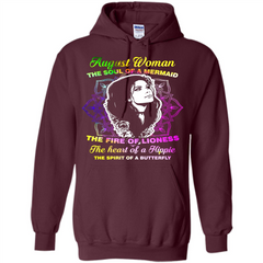 August Woman T-shirt The Heart Of A Hippie Pullover Hoodie 8 oz - WackyTee