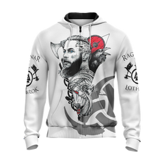Vikings- Ragnar Lodbrok Unisex Zip Up Hoodie Fullprinted Zip Up Hoodie - WackyTee