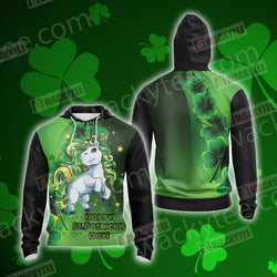 Unicorn Happy Saint Patrick's Day Unisex Zip Up Hoodie Jacket