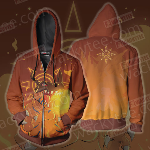 Digimon Greymon Zip Up Hoodie Jacket US/EU XXS (ASIAN S) Fullprinted Zip Up Hoodie - WackyTee