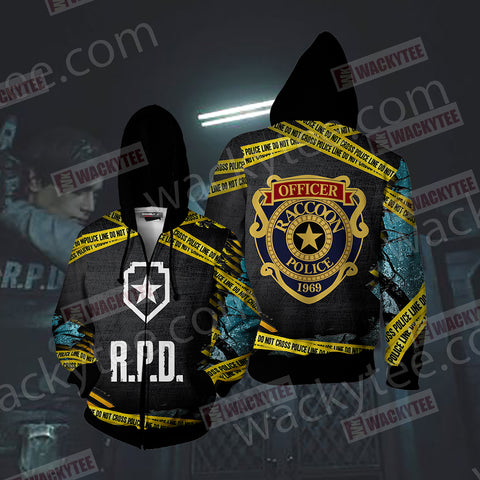 Resident Evil - R.P.D Unisex Zip Up Hoodie Jacket US/EU XXS (ASIAN S) Fullprinted Zip Up Hoodie - WackyTee